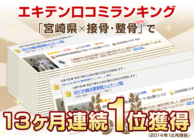 エキテン口コミランキング「宮崎県×接骨・整骨」で◯ヶ月連続1位獲得